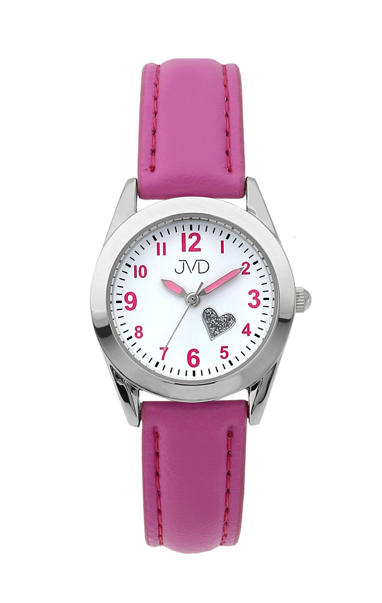 Dětské dívčí náramkové čitelné hodinky JVD J7178.2 se srdíčkem (růžové dívčí hodinky)