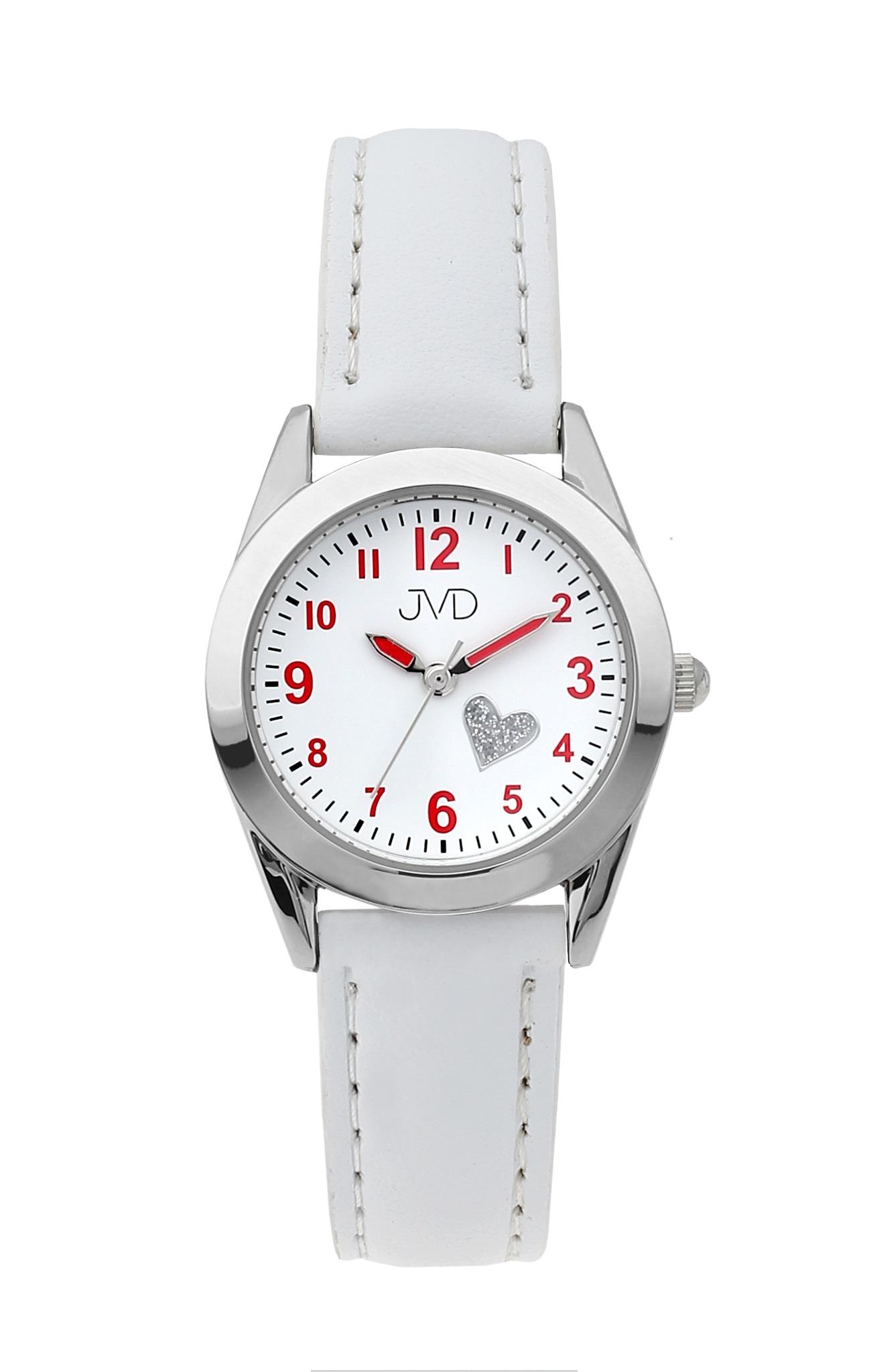 Dětské dívčí náramkové čitelné hodinky JVD J7178.1 se srdíčkem (bílé dívčí hodinky)
