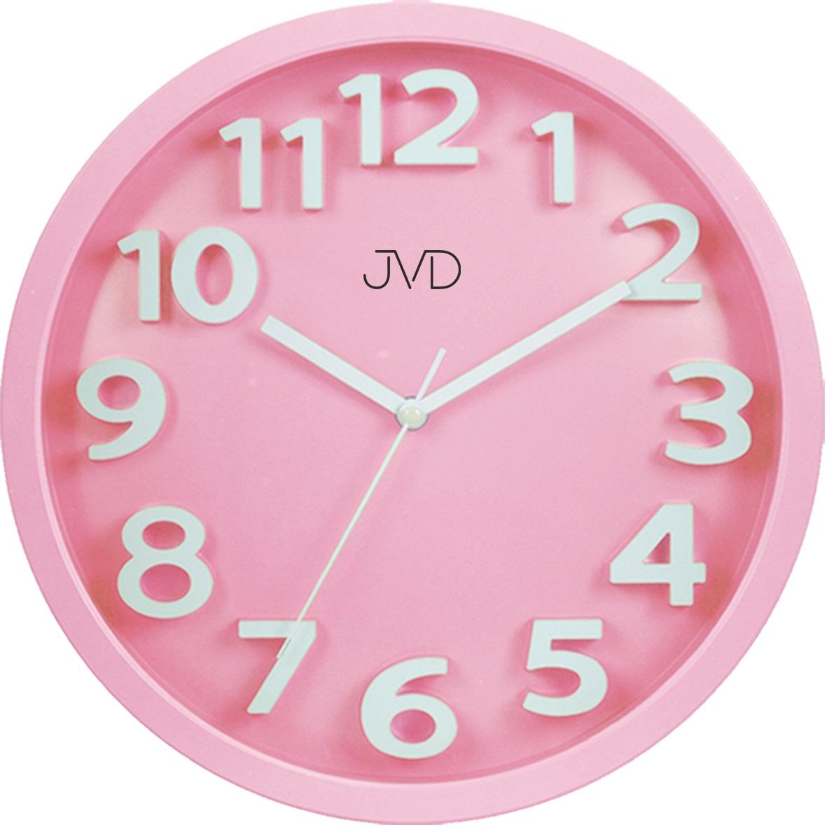 Růžové čitelné netikající tiché dětské hodiny JVD HA48.3