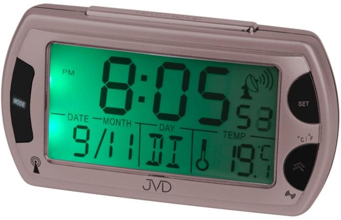 Rádiem řízený digitální budík JVD RB358.11 s teploměrem a podsvícením