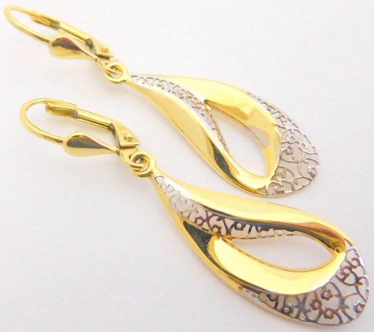 Gravírované zlaté visací náušnice z bílého a žlutého zlata 585/2,0gr 1131962 (POŠTOVNÉ ZDARMA!!! )