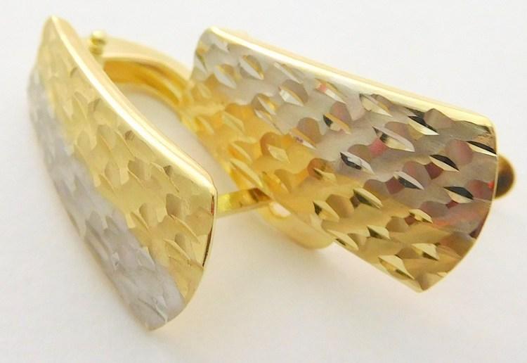Mohutné velké zlaté náušnice z bílého a žlutého zlata 585/2,05gr 1231242 (POŠTOVNÉ ZDARMA!! - 1231242)