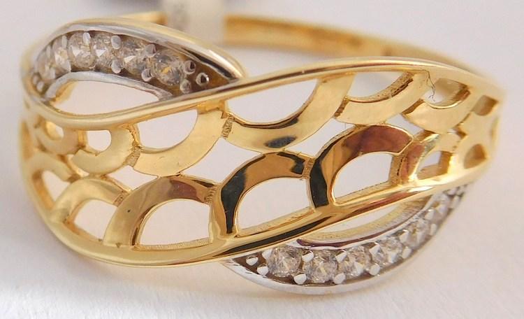 dd3d1d1dc Gravírovaný prsten se zirkony - bílé a žluté zlato 585/1,70gr vel.