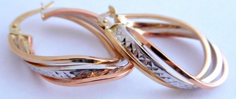 Mohutné gravírované zlaté oválky tři barvy zlata 585/2,97gr 1431508 (POŠTOVNÉ ZDARMA!!)