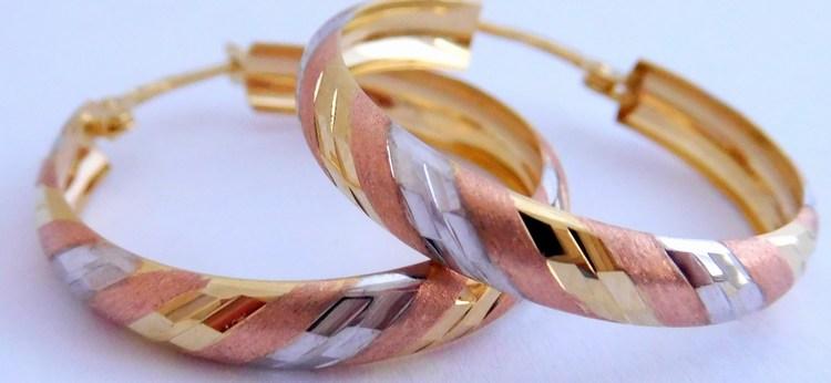 Mohutné gravírované zlaté kruhy tři barvy zlata 585/2,60gr 1431245 (POŠTOVNÉ ZDARMA!!)
