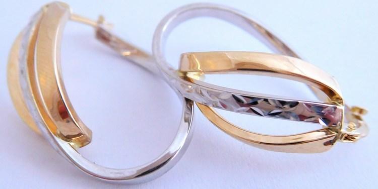 Mohutné gravírované zlaté ovály bílé a žluté zlato 585/2,65gr 1431509 (POŠTOVNÉ ZDARMA!!)