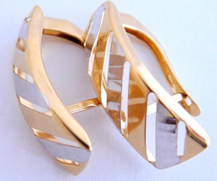 Mohutné velké zlaté náušnice z bílého a žlutého zlata 585/2,35gr 1430840 (POŠTOVNÉ ZDARMA!!)