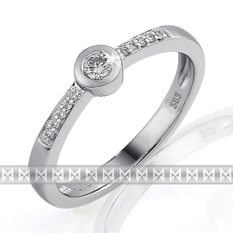 Módní prsten zdobený diamanty v provedení bílé zlato ODELIA 3861254 (3861254 - POŠTOVNÉ ZDARMA!!! velikost libovolná)