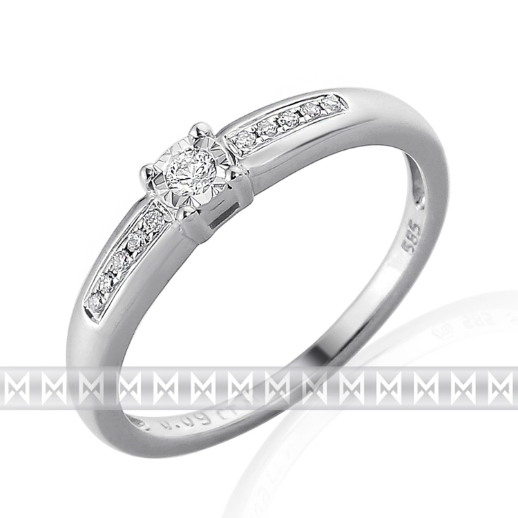 Zásnubní diamantový prsten zdobený diamanty v bílém zlatě PHILA 3861856 (3861856 - POŠTOVNÉ ZDARMA!!! velikost libovolná)