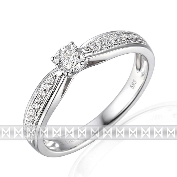 Zásnubní diamantový prsten zdobený diamanty v bílém zlatě TIMONA 3862823 (3862823 - POŠTOVNÉ ZDARMA!!! velikost libovolná)