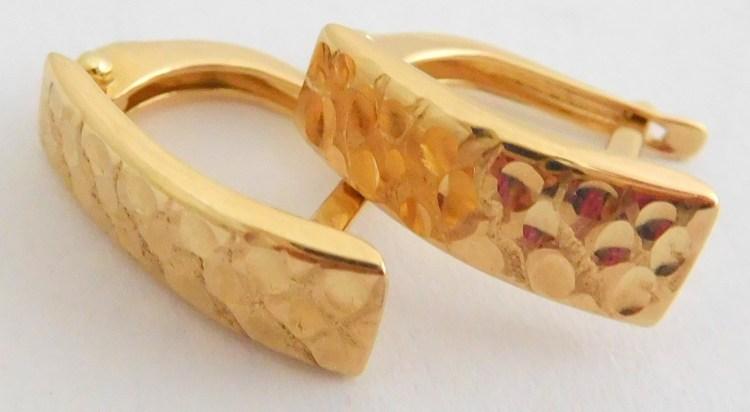 Gravírované zlaté velké náušnice ze žlutého zlata 585/1,32gr 1431132 (1431132 - POŠTOVNÉ ZDARMA)