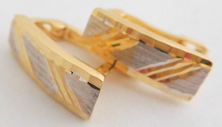 Gravírované zlaté velké náušnice ze žlutého a bílého zlata 585/1,52gr 2130362 (2130362 - POŠTOVNÉ ZDARMA)