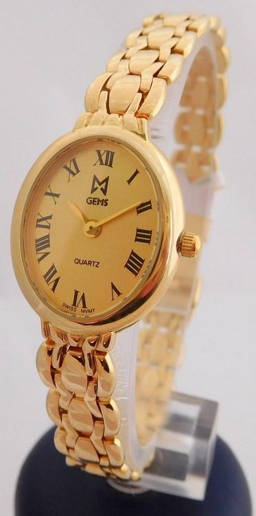 Luxusní celozlaté dámské zlaté hodinky GEMS 585/25,82gr 1440220 (POŠTOVNÉ ZDARMA!! švýcarské zlaté hodinky s římskými číslicemi)