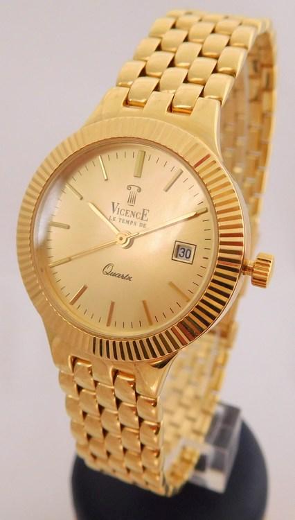 Švýcarské celozlaté dámské zlaté hodinky VICENCE LE TEMS DE 585/40,0gr 1440214 (POŠTOVNÉ ZDARMA!! šperkové švýcarské zlaté hodinky )