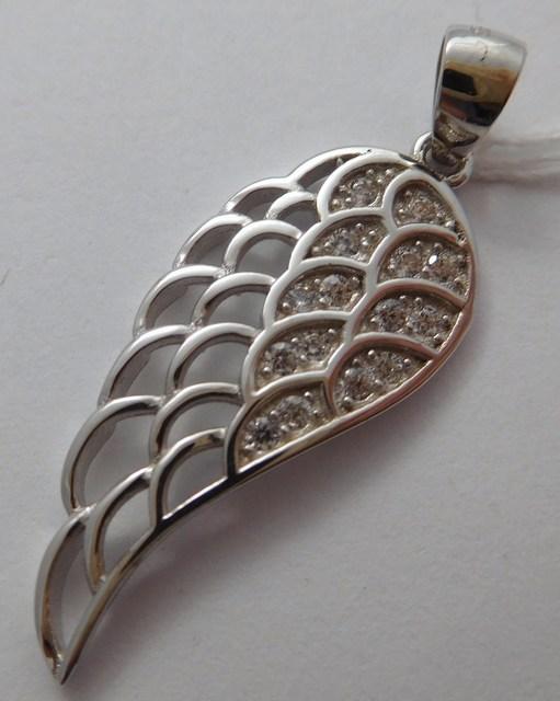 Stříbrné andělské křídlo se zirkony F346