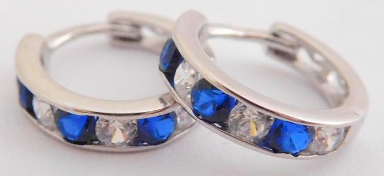 Zlaté dívčí kruhy s modrými safíry a zirkony pr.11mm 585/1,17gr 2280152 (2280152 - POŠTOVNÉ ZDARMA!!)