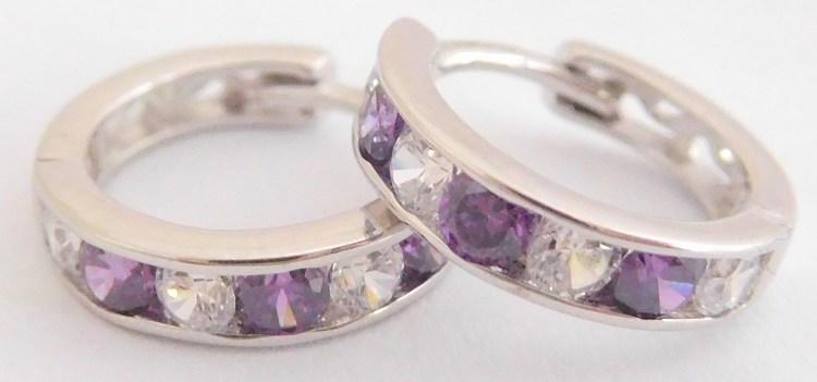 Zlaté dívčí kruhy s fialovými ametysty a zirkony pr.11mm 585/1,22gr 2280152