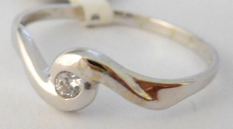Zlatý zásnubní prsten z bílého zlata se zirkonem vel.52 585/0,92gr 4565028 (4565028 - POŠTOVNÉ ZDARMA!!)