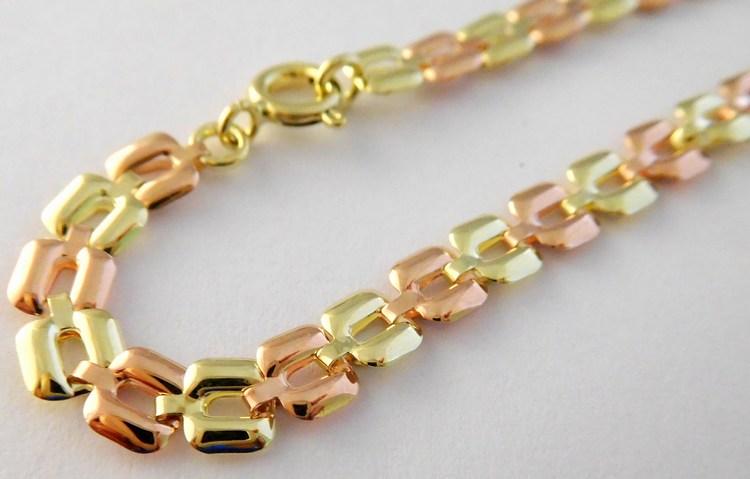 Mohutný zlatý náramek ze žlutého a růžového zlata 19cm 585/3,06gr 261470016