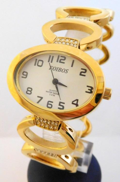 Dámské šperkové zlacené hodinky s kamínky na pásku Foibos 24223 (POŠTOVNÉ ZDARMA!!!!)