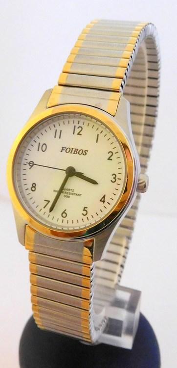 Dámské zlacené ocelové hodinky Foibos 7285.5 s natahovacím páskem BICOLOR (natahovací pásek - libovolná velikost zápěstí)