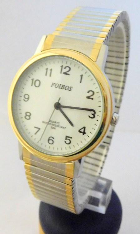 Pánské zlaté ocelové hodinky Foibos 7432GTT s natahovacím páskem BICOLOR (natahovací pásek - libovolná velikost zápěstí)