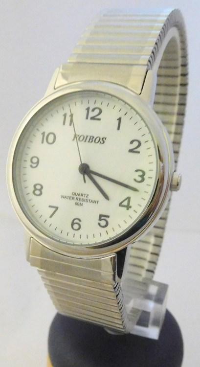 Pánské zlaté ocelové hodinky Foibos 7432GS s natahovacím páskem (natahovací pásek - libovolná velikost zápěstí)