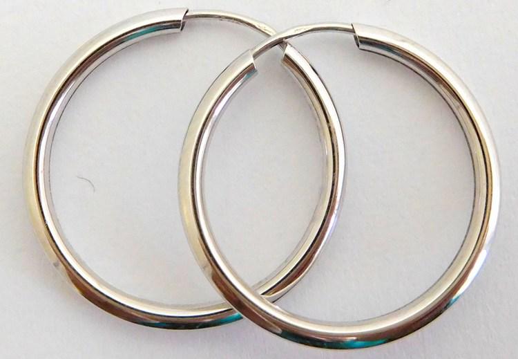 Velké hladké zlaté kruhy z bílého zlata 18mm/1,8cm 585/0,58gr H917