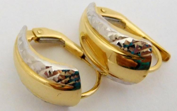 Dámské gravírované zlaté náušnice z bílého a žlutého zlata 585/1,67gr H918 (POŠTOVNÉ ZDARMA!!!!)