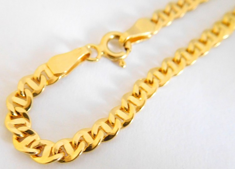 Mohutný masivní pánský zlatý řetěz s gravírováním 585/5,56gr 50cm H928