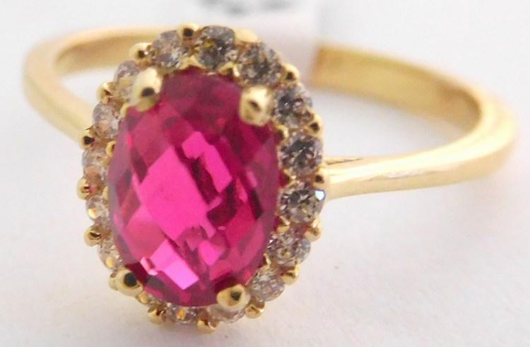 Zlatý mohutný prsten s velkým červeným rubínem a zirkony vel. 54 585/2,22gr H933 (POŠTOVNÉ ZDARMA!!!)