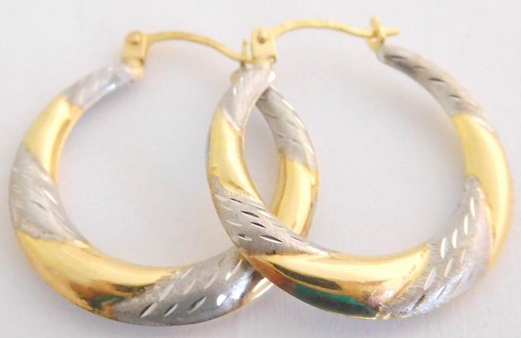 Mohutné zlaté velké kruhy z bílého a žlutého zlata s gravírováním 585/0,89g H935
