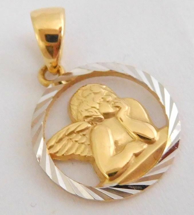 Zlatý gravírovaný andělíček z bílého a žlutého zlata 585/0,96gr H938 (POŠTOVNÉ ZDARMA!!!)