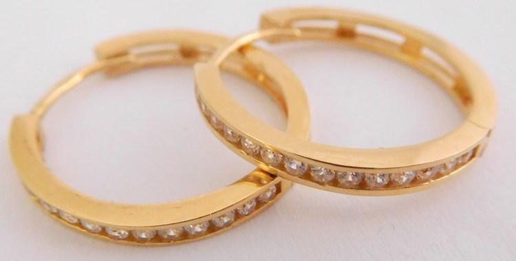 Velké zlaté kruhy - průměr 18mm s fasovanými zirkony 585/2,26gr H941