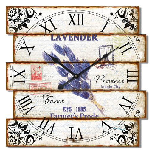 Bílé hranaté nástěnné hodiny A la Campagne JVD NB12 s francouzským motivem (francouzský design hodin )