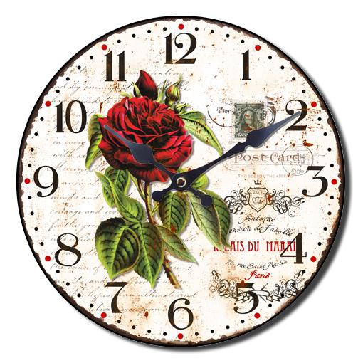 Kulaté nástěnné hodiny A la Campagne JVD NB14 s francouzským motivem (francouzský design hodin )