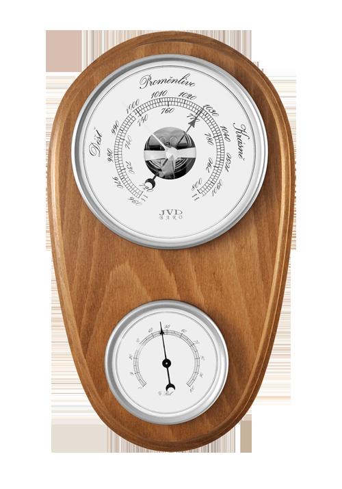 Dřevěný barometr JVD BA1/DBBT s vlhkoměrem (Určuje předpověď počasí a vlhkost vzduchu)