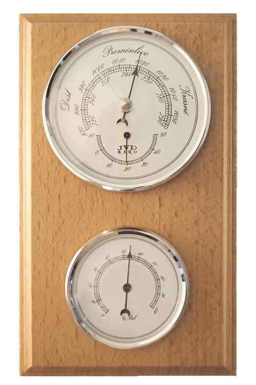 Hranatý dřevěný barometr JVD BA2/DBBHT s vlhkoměrem a teploměrem (Určuje předpověď počasí a vlhkost vzduchu)