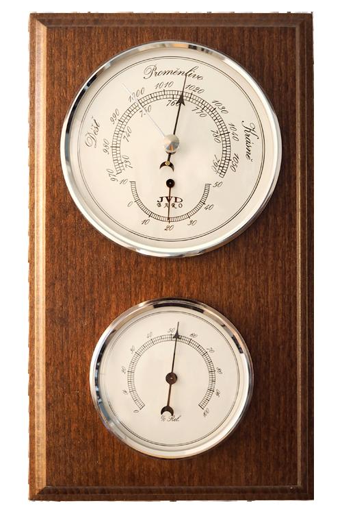 Hranatý dřevěný barometr JVD BA2/ORBHT s vlhkoměrem a teploměrem (Určuje předpověď počasí a vlhkost vzduchu)