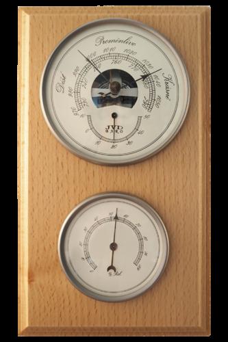 Hranatý dřevěný barometr JVD BA3/PRBHT s vlhkoměrem a teploměrem (Určuje předpověď počasí a vlhkost vzduchu)