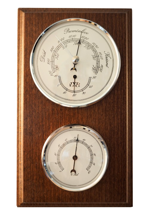 Dřevěný barometr JVD BA12/CEBHT s vlhkoměrem, teploměrem a předpovědí počasí (POŠTOVNÉ Z