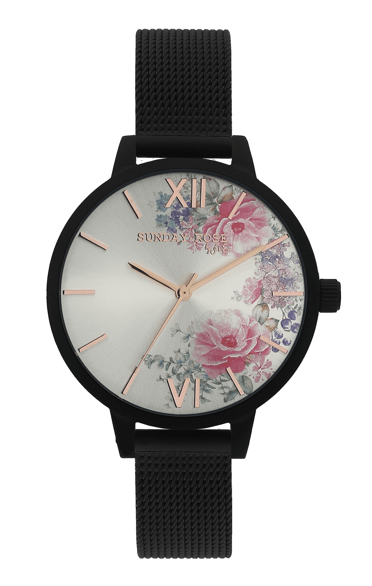 Dámské luxusní designové černé hodinky SUNDAY ROSE Fashion MIDNIGHT BLOSSOM 5fb545b1bf