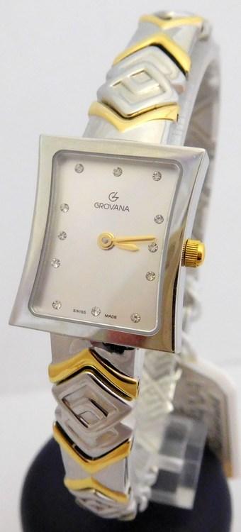 Dámské stříbrno-zlaté švýcarské hranaté hodinky Grovana 4012.1142 - bicolor (POŠTOVNÉ ZDARMA!!)