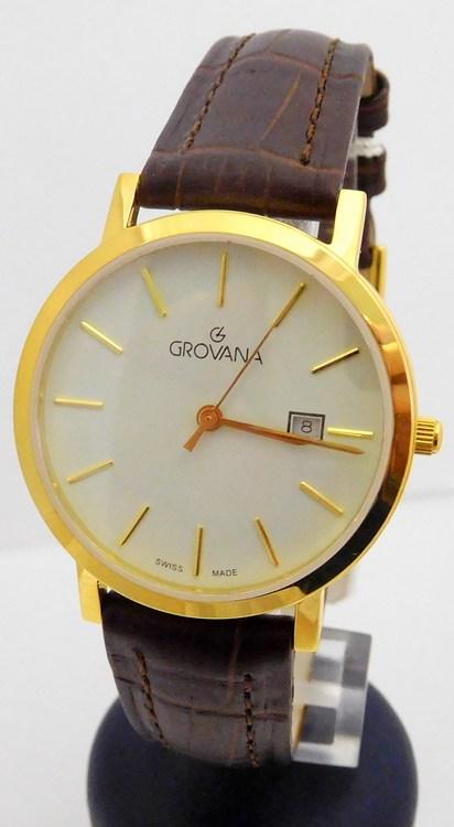 Pánské zlacené švýcarské hodinky Grovana 3230.1913 na koženém pásku  (POŠTOVNÉ ZDARMA!!) 7e858b16e2
