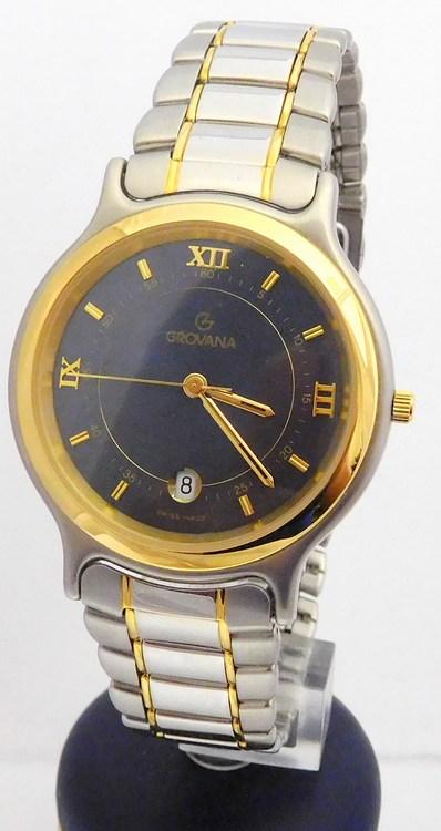 Zlacené pánské švýcarské ocelové hodinky Grovana 1705.1545 (POŠTOVNÉ ZDARMA!!)