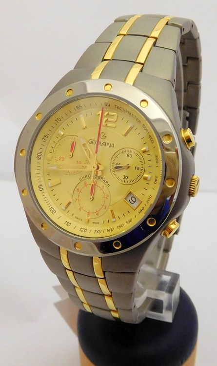 Pánské titanové švýcarské chronografy - hodinky Grovana 1532.9121 bicolor (POŠTOVNÉ ZDARMA!!)