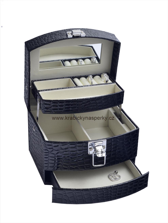 Luxusní velká třípatrová černá šperkovnice SP-300/A25 na šperky (černá kožená uzamykatelná šperkovnice)