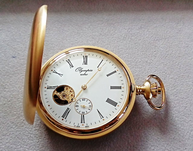 Luxusní zlacené mechanické kapesní hodinky Olympia 35037 (s ručním natahováním)