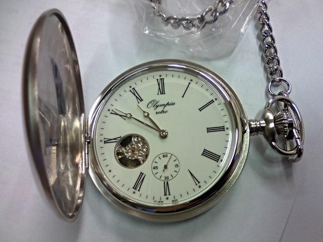 Luxusní stříbrné mechanické kapesní hodinky Olympia 35036 (s ručním natahováním)