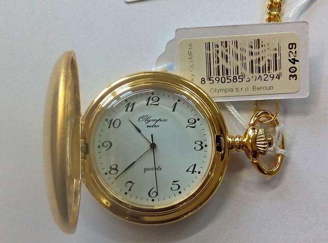 Luxusní pánské zlacené kapesní hodinky Olympia 30429 (kapesní hodinky)